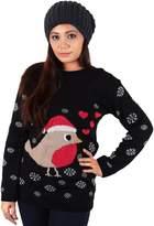 Noroze New Womens 2014 Christmas Jumper Aztec Robin White Glitter Snowflakes