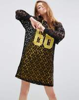 Asos Lace Hoodie Dress With Contrast Lining