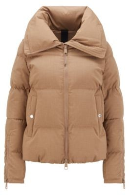 HUGO BOSS Melange down jacket with voluminous collar