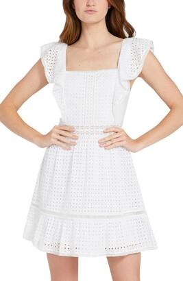 Alice + Olivia Remada Ruffle Sleeve Mini Dress