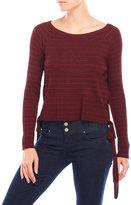 XOXO Striped Lace-Up Sweater