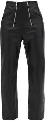 Stella McCartney Double-zip Faux-leather Straight-leg Trousers - Black