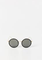 Linda Farrow black / yellow gold / grey sunglasses