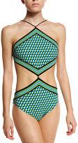 Michael Kors High-Neck Printed Monokini Swimsuit, Turquoise/Multi
