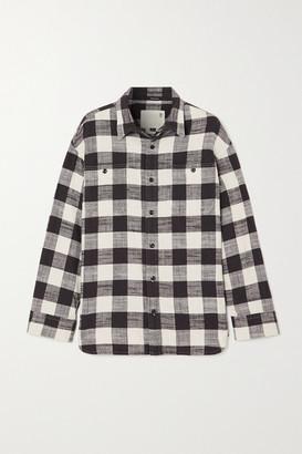 R 13 Oversized Checked Cotton-gauze Shirt - Black