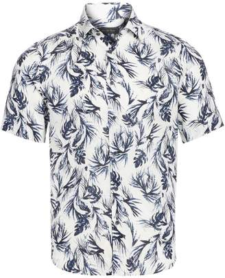 Saks Fifth Avenue Leaf-Print Linen Sport Shirt