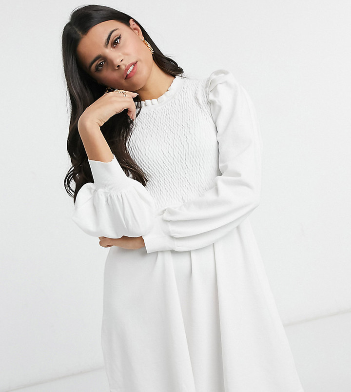 ASOS DESIGN Petite knitted babydoll dress with shirring detail in cream