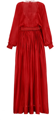 ESCVDO Women's Borneo Long-Sleeve Maxi Dress With Hand Embroidery - Black/red - Moda Operandi