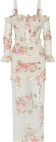 Alessandra Rich - Ruched Floral-print Stretch-silk Maxi Dress - White