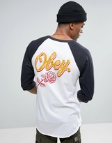 Obey Raglan T-shirt With Large Floral Logo