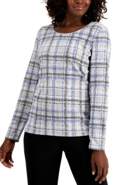 Karen Scott Plaid T-Shirt, Created for Macy's