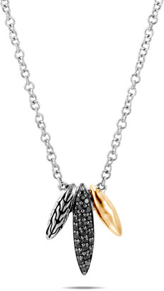 John Hardy Classic Chain Spear Pendant Necklace w/ 18k Gold & Black Spinel