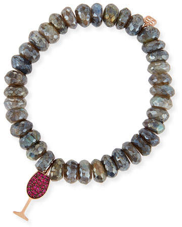 Sydney Evan 10mm Labradorite Beaded Bracelet with Ruby Wine Glass Charm