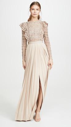 Self-Portrait Heart Lace Maxi Dress