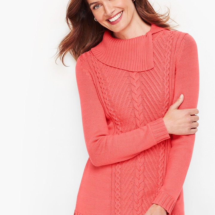 Talbots Split Cowlneck Cable Sweater