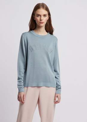 Emporio Armani Open-Work Detail Sweater And Embroidered Logo