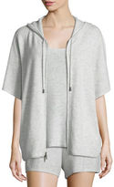 Neiman Marcus Cashmere Short-Sleeve Hooded Zip Jacket