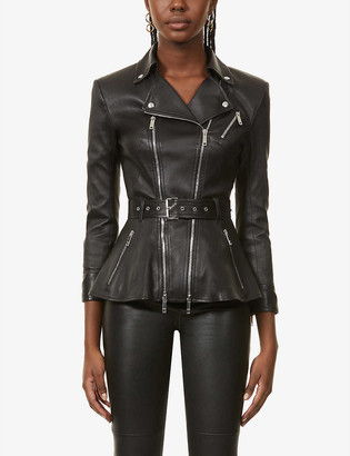 Jitrois Kristen peplum-hem leather jacket