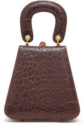 STAUD Kenny Crocodile-embossed Leather Handbag - Womens - Dark Brown