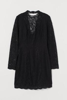 H&M Scallop-edged Lace Dress - Black