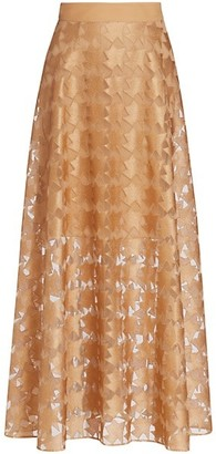 Akris Embroidered Tulle Maxi Skirt
