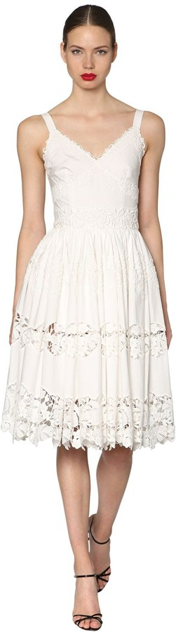 Dolce & Gabbana Embroidered Cotton Poplin Midi Dress