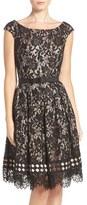 Eliza J Petite Women's Eliza Belted Lace Fit & Flare Dress