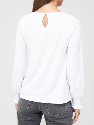 Very Long Sleeve Lace Yolk Top - White