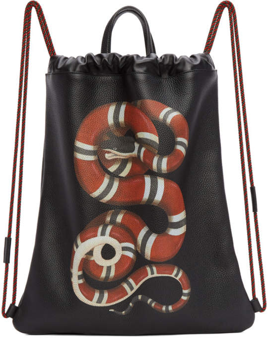 Gucci Black Snake Drawstring Backpack