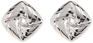 Breuning Sterling Silver Cushion Shaped Swirl Stud Earrings
