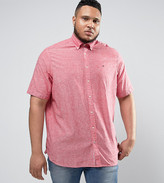 Tommy Hilfiger PLUS Short Sleeve Shirt Buttondown Cotton Linen in Red