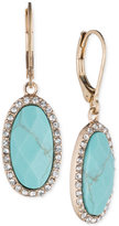 lonna & lilly Gold-Tone Blue Stone and Crystal Oval Drop Earrings