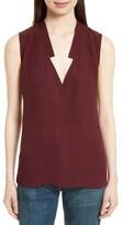 Theory Women's Classic Crossover Sleeveless Silk Top