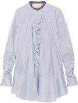 Roksanda Hecla Ruffle-trimmed Striped Cotton-poplin Dress - Navy