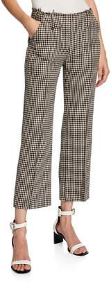 Rokh Herringbone Wool Raw-Waist Crop Trousers