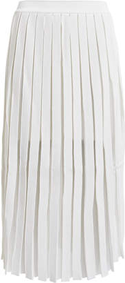 Balmain Pleated Sheer Panel Midi Skirt