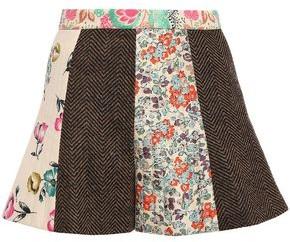RED Valentino Herringbone Wool And Floral-print Silk-twill Shorts