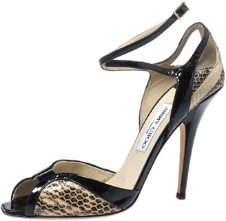 Jimmy Choo Black/Cream Snakeskin And Patent Leather Ankle Strap Sandals Size 38.5
