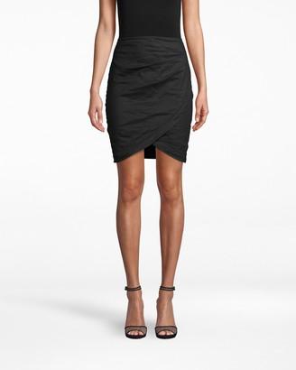 Nicole Miller Cotton Metal Faux Wrap Skirt