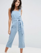 Liquor & Poker Wide Leg Raw Hem Overall with Tie Waist