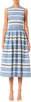 Carolina Herrera Lace Stripe Gingham A-Line Midi Dress