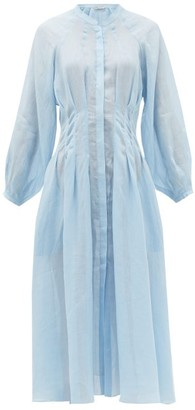 Three Graces London Valerie Pintuck-waist Ramie Shirt Dress - Light Blue