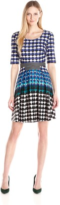 Gabby Skye Women's Fit and Flare Dress All Over Print Elbow Sleeve