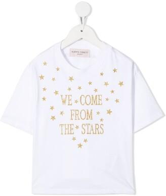 Alberta Ferretti Kids glitter slogan print T-shirt