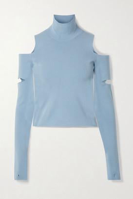 MM6 MAISON MARGIELA Cold-shoulder Convertible Stretch-knit Turtleneck Sweater - Blue