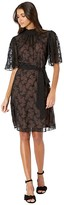 Rebecca Taylor Short Sleeve Vine Embroidery Dress (Black Combo) Women's Clothing