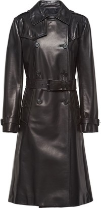 Prada Double Breasted Leather Coat