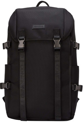 Consigned Torrett Twin Pocketed Flapover Backpack Black