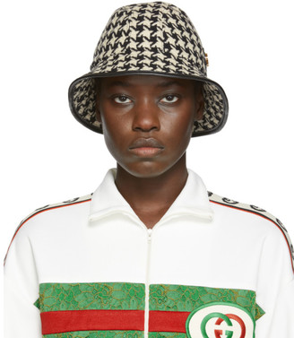 Gucci Black and White Houndstooth Fedora