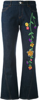 See by Chloe embroidered denim kick flare jeans - women - Silk/Cotton/Acrylic/Wool - 26